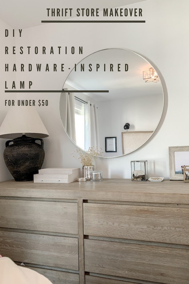 """This DIY distressed terracotta lamp looks like McGee & Co., Pottery Barn, or Restoration Hardware! But it cost less than $50 and you should see the """"before"""" photos. #makeover #transformation #found #vase #light"""