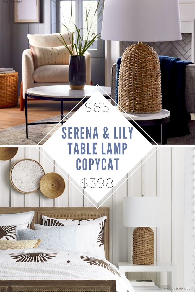 Finally! A Serena & Lily Abbott Table Lamp dupe! This woven wicker lamp with a white shade is all over Pinterest and now you can have it for just $65. I love all of Serena and Lily's lighting and I can have their style on a budget. #inspo #dupes #copycat #copycats #decor #light