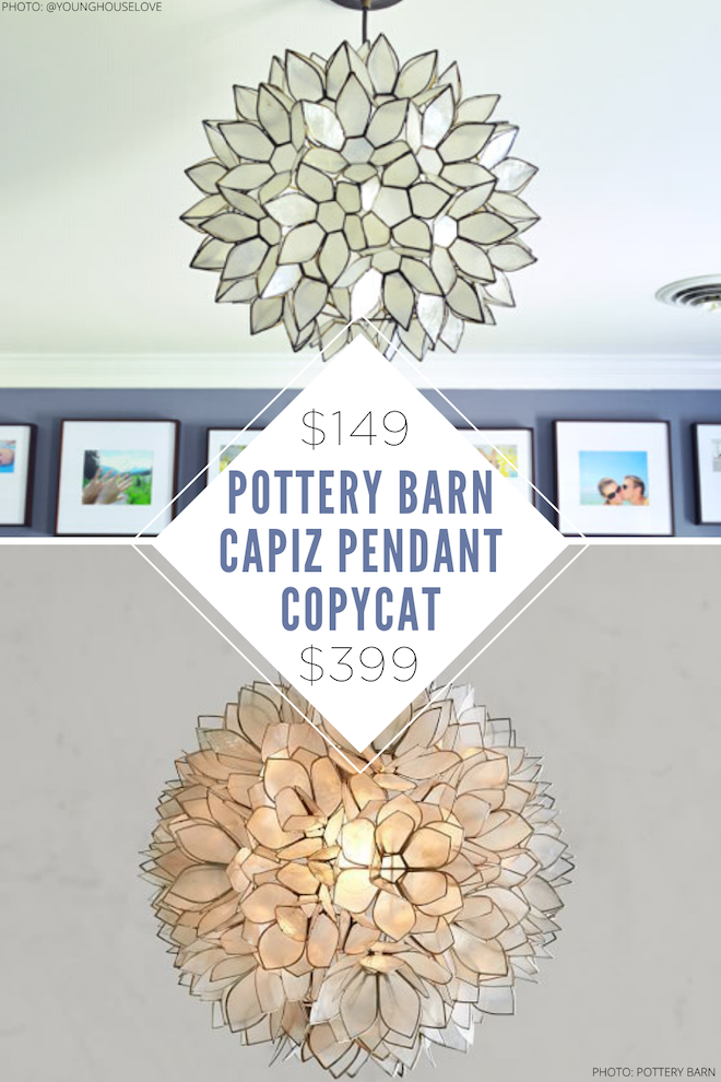 Wow! This Pottery Barn capiz flower pendant copycat is so beautiful! It looks just like the Pottery Barn version but is much more affordable. If you're decorating on a budget, doing a home renovation, or just redecorating and want to save some money, home decor dupes are the way to go. Why not get the look for less?! #decor #lighting #light #kitchen #dining #worldmarket #chandelier