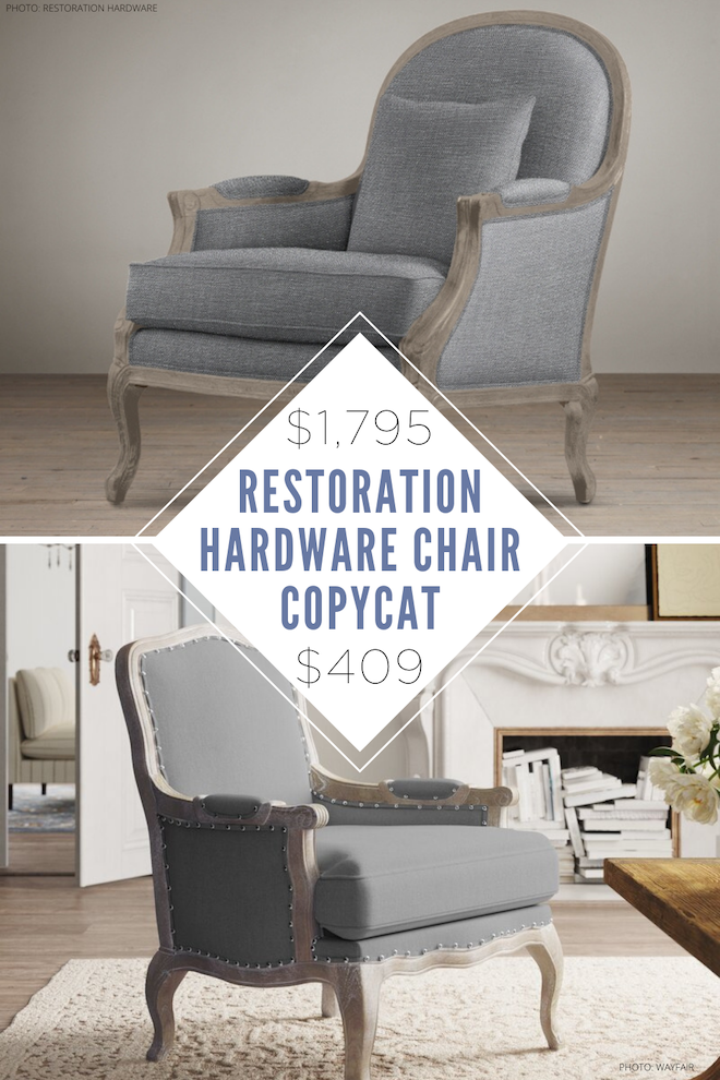 This Restoration Hardware Lyon Side Chair copycat is everything! I've you've always wanted a Restoration Hardware living room, this is how you can do it on a budget! I've always loved french armchairs, but add in the distressed oak and I'm sold! You'll save SO much money by using this dupe and then you can use the money you save for something else! #inspo #home #seating #accent