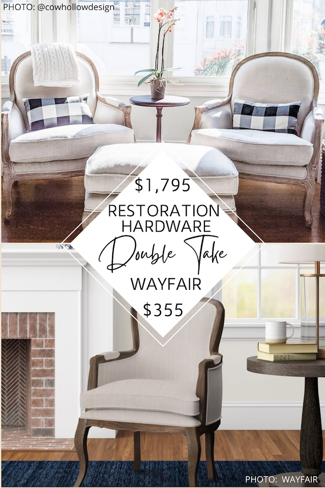 Looking for a Restoration Hardware Lyon accent chair copycat? I've got one! This Restoration Hardware dupe is SO good and will save you so much money. Restoration Hardware look alikes are the best way to decorate on a budget and this chair would look amazing in a home office, living room, or even a dining room. #home #inspo #decor ##knockoff #dupes #decorating