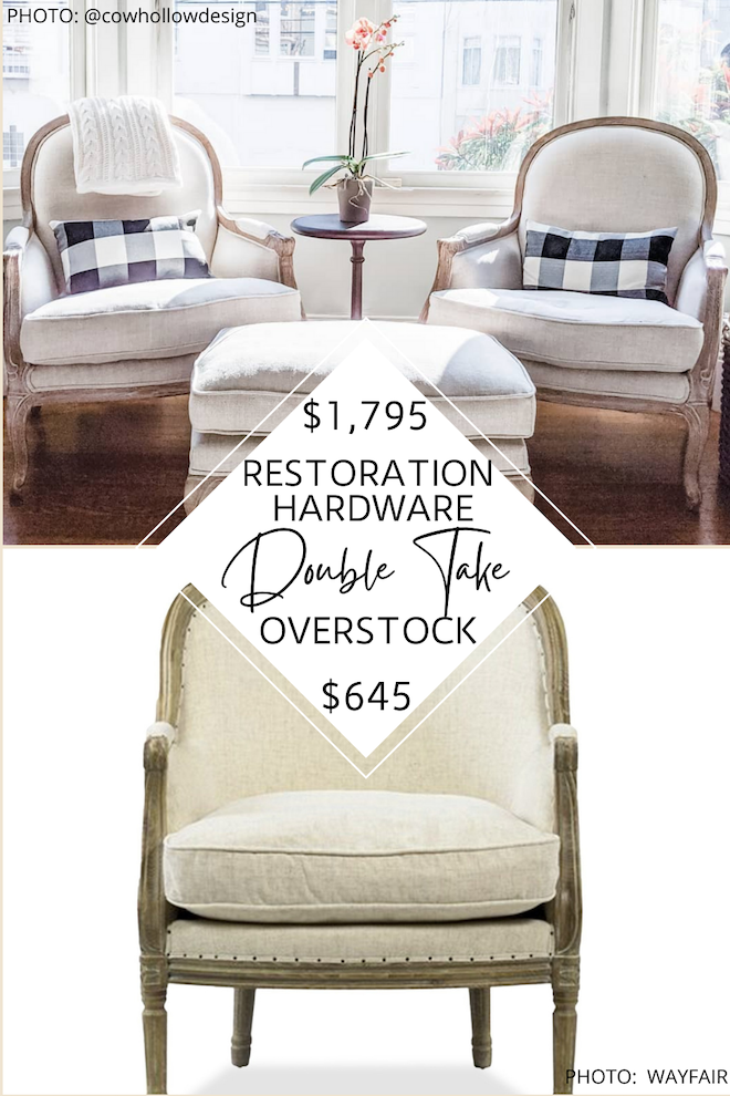 Finally! A Restoration Hardware linen side chair copycat! I've been obsessed with this chair and wanted it for my living room. This dupe looks just like the real. thing - down to the french style, linen fabric, carved design detail, nail head, and cream color. If you're doing a home reno or just some redecorating, you need to see all my copycat home decor. #inspo #lookalike #knockoff #inspired #style