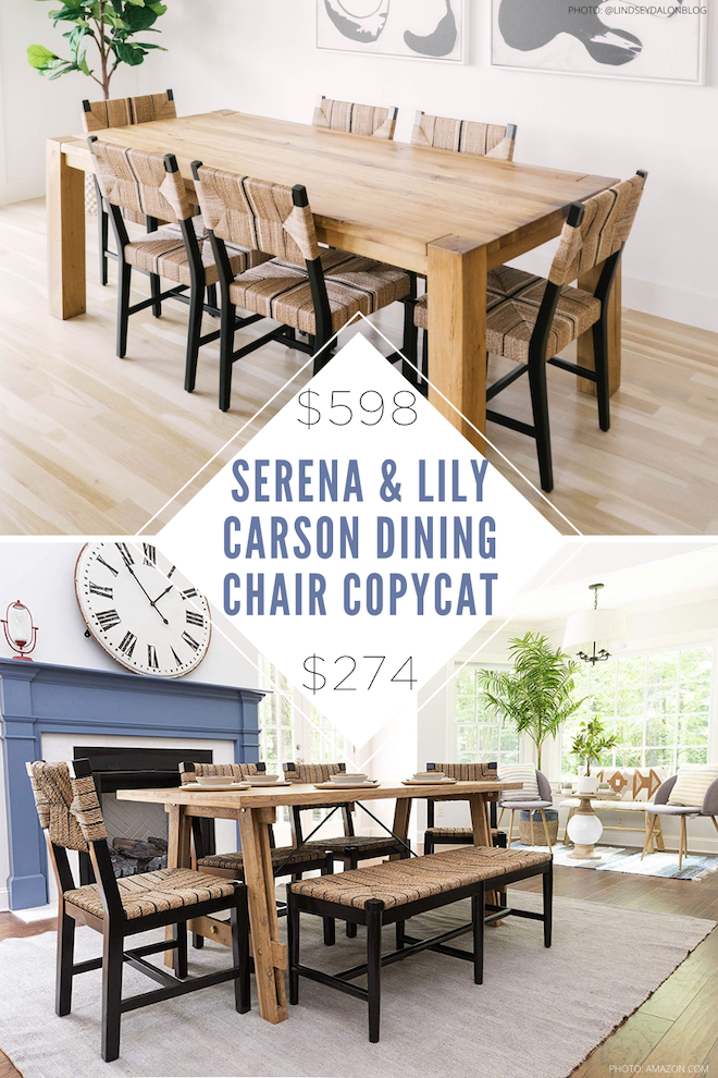 OMG THIS LOOK FOR LESS IS INSANE! If you love copycat decor and home decor dupes, you need to see this. These chairs are perfect knockoffs for the Serena & Lily carson dining chair but will save you over $300 a chair. I love the coastal design, neutral tones, and natural inspiration and really love how much money I'll save! #inspo #decor #design #style #dupe #knockoff #lookalike #highlow