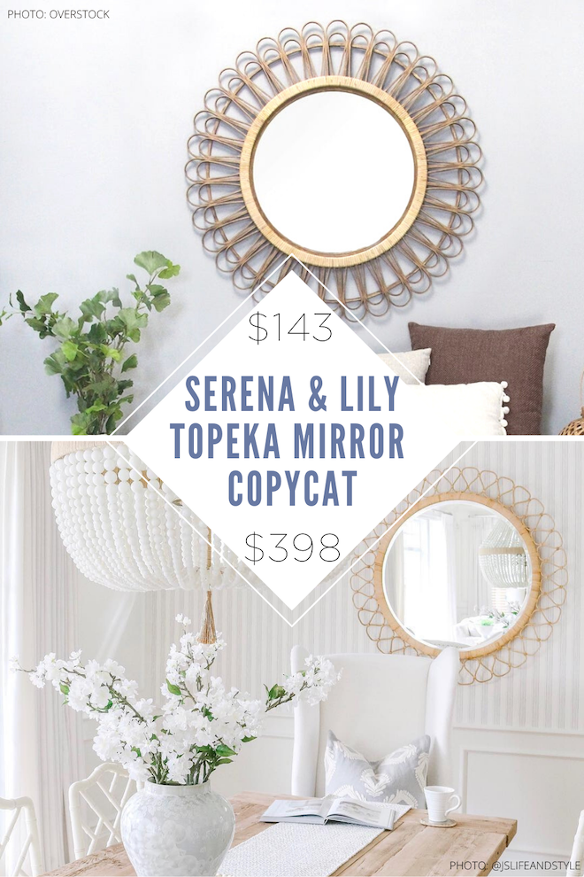 Love Serena & Lily home decor? You've got to see my Serena & Lily Topeka mirror copycat. This round rattan mirror looks similar to Serena and Lily but costs WAY less. Dupes and copycats are a great way to save money if you're decorating on a budget. #inspo #wall #design #wicker #boho