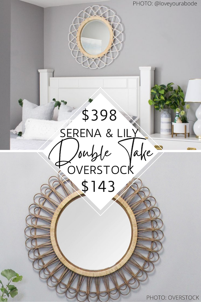 Love Serena and Lily home decor? You've got to see my Serena & Lily Topeka mirror copycat. This round rattan mirror looks similar to Serena and Lily but costs WAY less. Dupes and copycats are a great way to save money if you're decorating on a budget. #inspo #wall #design #wicker #boho