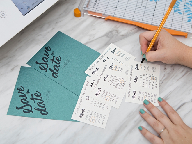Learn how to make these adorable calendar sticker Save the Dates!