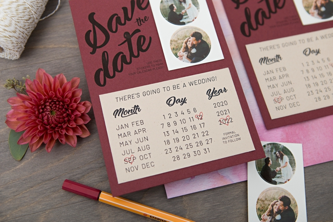 Print these Save the Dates with calendar stickers for FREE!