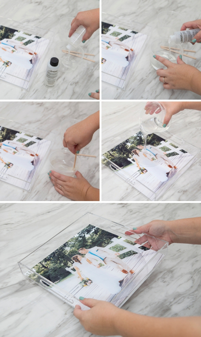 Pour resin over photos to make gorgeous serving tray gifts!