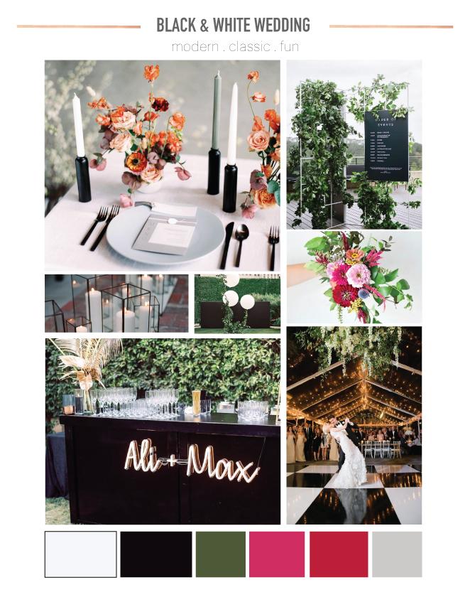 Modern Classic Black and White Wedding Mood Board
