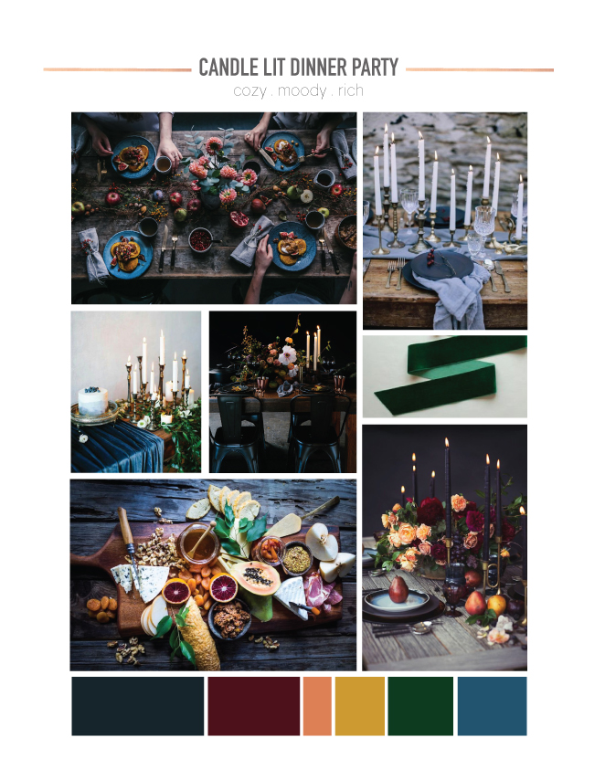 Candlelit dinner party mood board - Something Turquoise