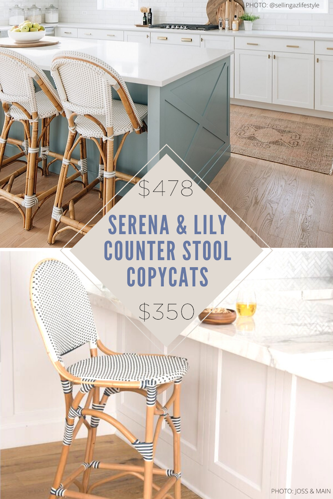 Always dreamed of having a Serena & Lily kitchen? These Serena and Lily Riviera Counter Stool copycats will give you the look for less and save you so much money! These french bistro chairs were originally spotted in Paris cafes, but now you can have them too! They also come in bar height and counter height. #inspo #dupe #dupes #copycats #decor #decorating