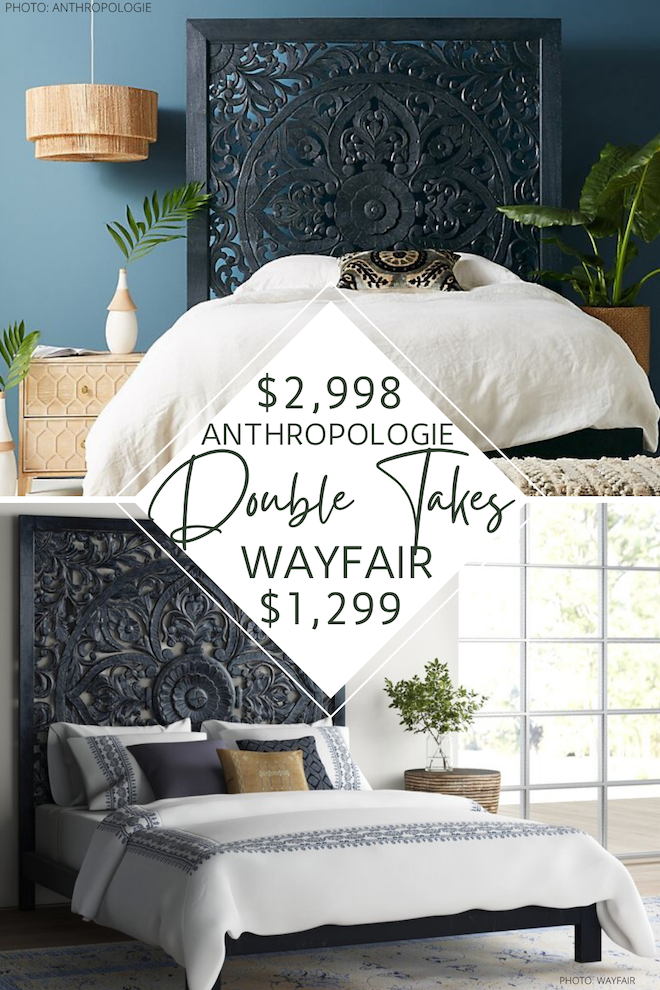 Looking for an Anthropologie Lombok bed dupe? I got you! This copycat Anthropologie bed looks like the original complete with a Balinese floral motif, carved wood detailing, whitewashed wood, and ornate frame. This is the most perfect boho bed and would look so good in any bedroom! #style #inspo #bohemian
