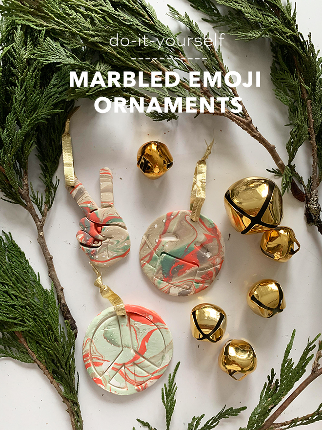 You have to see these darling DIY marbled emoji ornaments!