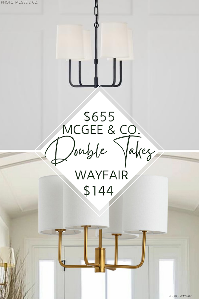 Do you love mcgee & Co (Studio McGee) home decor and style? If so, you need to see this McGee and Co. Go Lightly chandelier dupe! It's that modern traditional style and will save you so much money! Bonus: this light comes in gold, black, and silver. #inspo #design #decor #lighting #copycat #lookalike