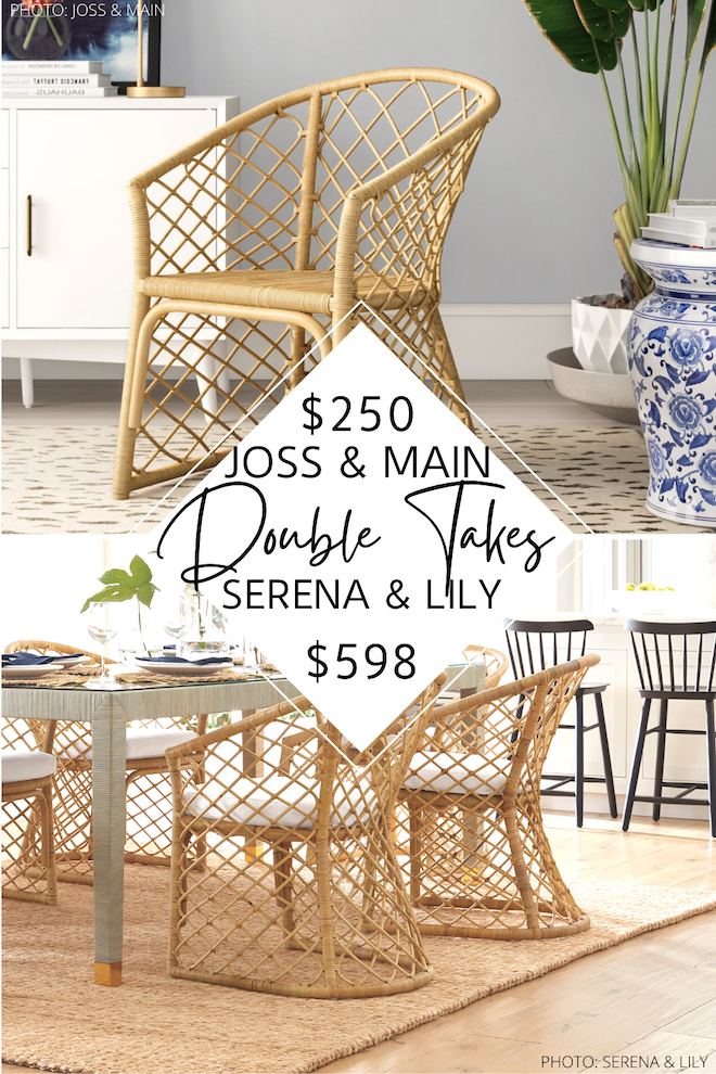 Looking for a Serena and Lily avalon dining chair dupe? I love finding Serena and Lily copycats and this one is my new fave! This look-alike is less than half the price and will save you so much money! If you're decorating on a budget, you need this in your life. #inspo #diningroom #seating #dining #chairs #coastal