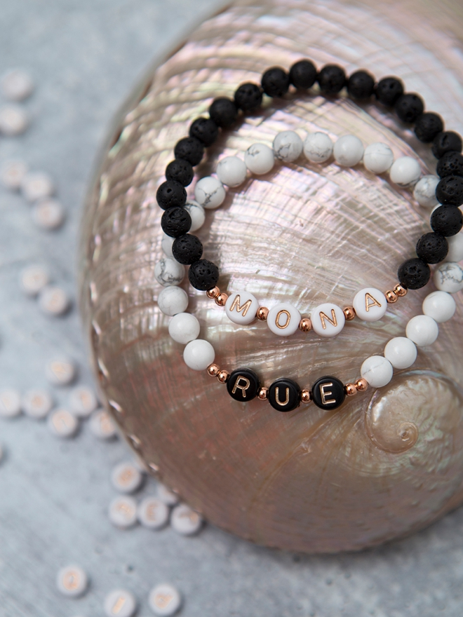 Learn how to make your own upscale alphabet bead name bracelets!