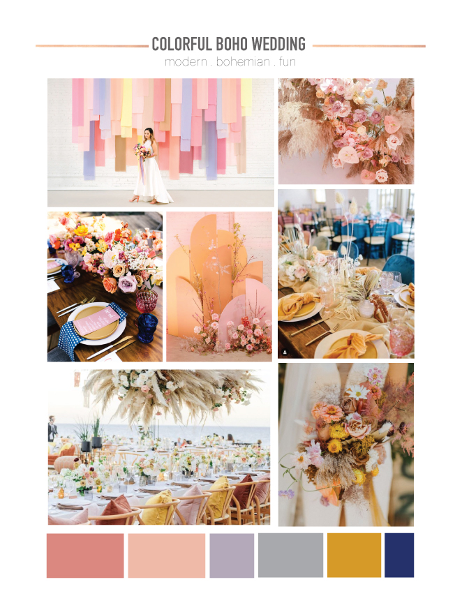 Colorful Boho Wedding Mood Board - Something Turquoise
