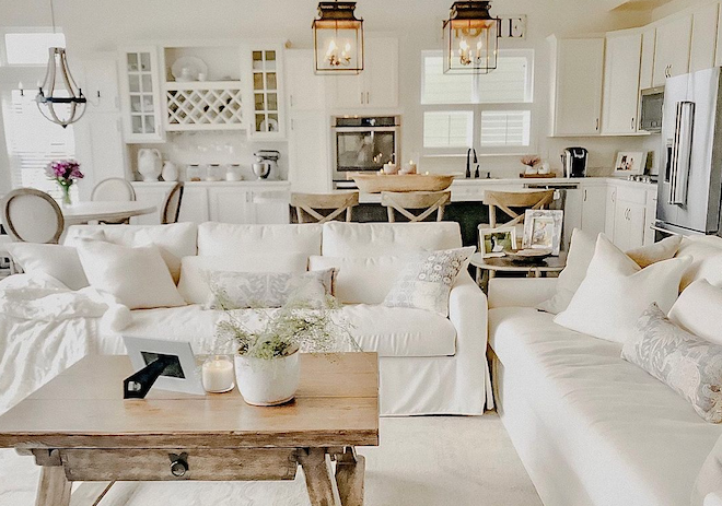 Do you dream of having a Pottery Barn kitchen? I got you! If you're looking for rustic and affordable home decor, check out my Pottery Barn copycat. #inspo #design #decor #pendant #lighting