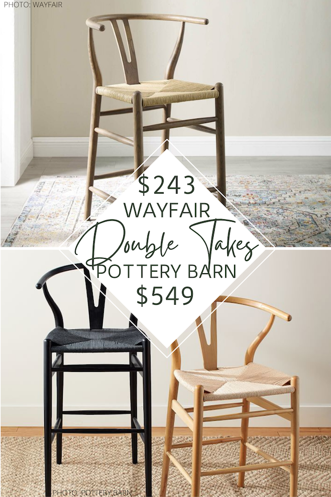 Looking for pottery barn copycats and dupes? I have seven pottery barn faith bar and kitchen counter stool look-alikes that will blow your mind. these chairs are perfect for a kitchen island and come in different heights, colors, sizes, and materials. #inspo #seating #decor #blog #wishbone #y