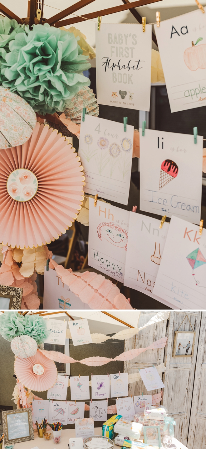 We are loving this adorable idea for your baby shower! Check out our DIY babies first alphabet book coloring sheets on our blog now!