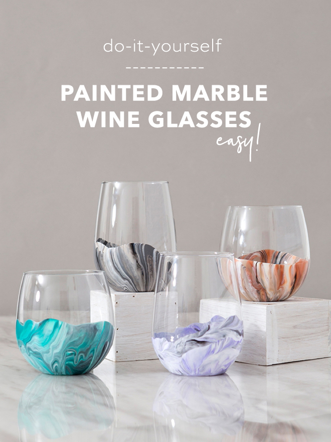 Looking for a great gift idea for Christmas for the newlyweds or wine drinkers in your life? Our easy DIY painted marble wine glasses are the best! Don't miss these!