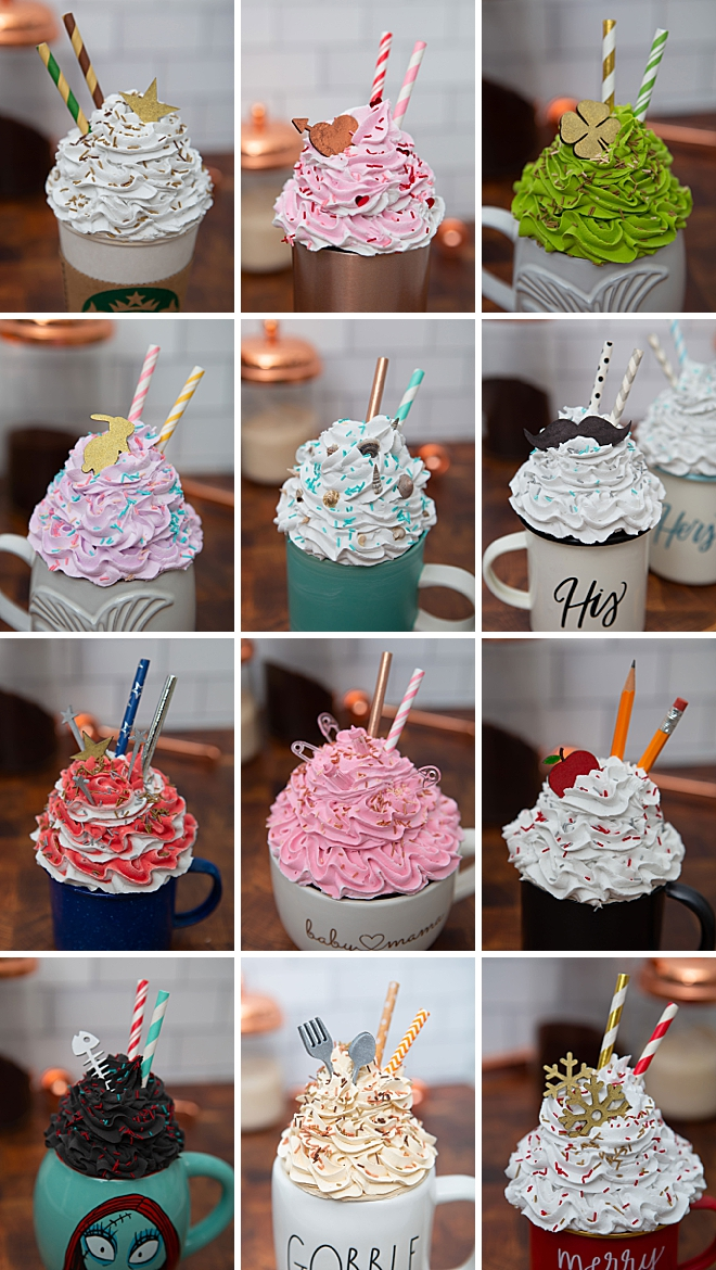 How to make the most adorable mug toppers, one for every season!