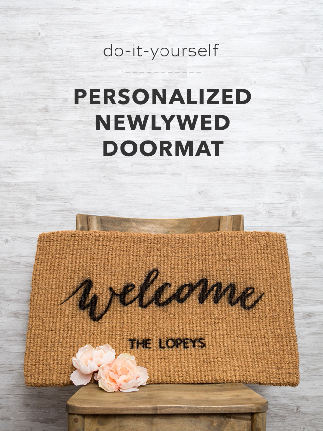 Everyone loves a personalized gift and these personalized doormats make the perfect newlywed or housewarming gift that you can DIY yourself!