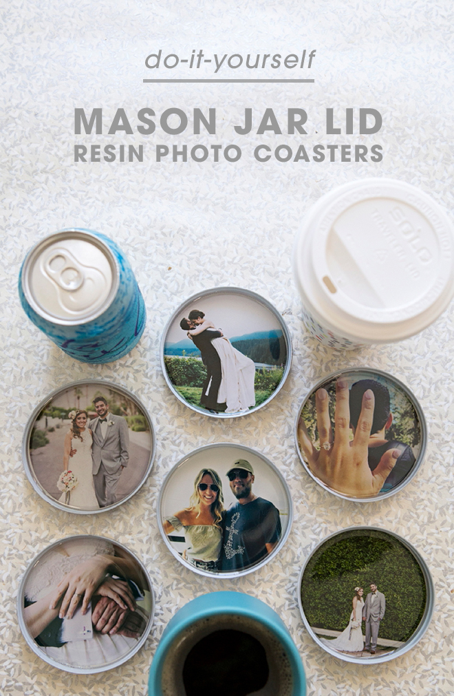 Our DIY photo mason jar resin coasters are such a cute gift holiday or newlywed gift idea! Check out our DIY now.