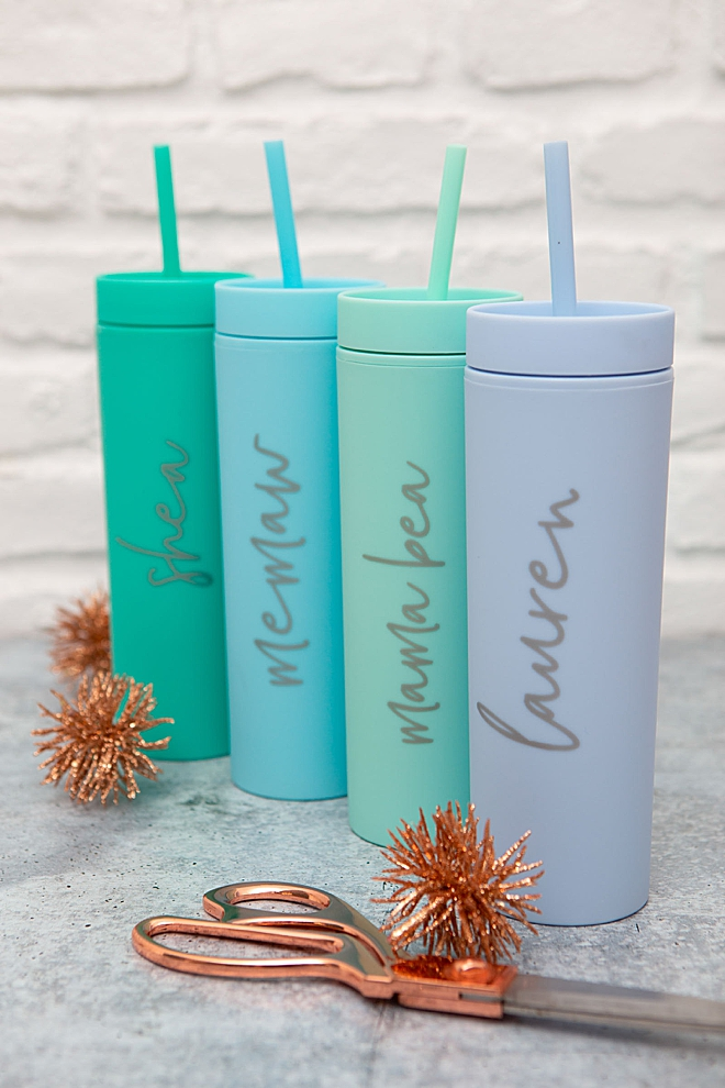 Personalize skinny pastel tumblers for everyone on your holiday list!