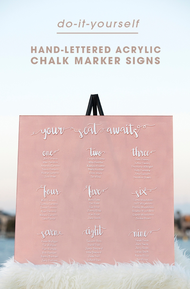 Is there anything more gorgeous than a hand-letered wedding sign?! You don't want to miss our DIY hand-lettered acrylic chalk marker signs! Sure to be one of your standout wedding DIYs!