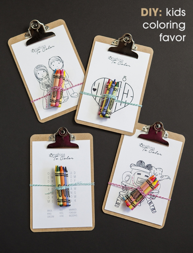 It can be hard to keep kids entertained at weddings, especially at the boring parts! You need our DIY kids coloring clipboard favor! Such a good wedding and holiday idea!