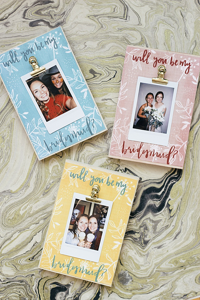 The cutest way to ask your bestie to be your bridesmaid is with our DIY bridesmaid photo block! Check out our easy DIY!