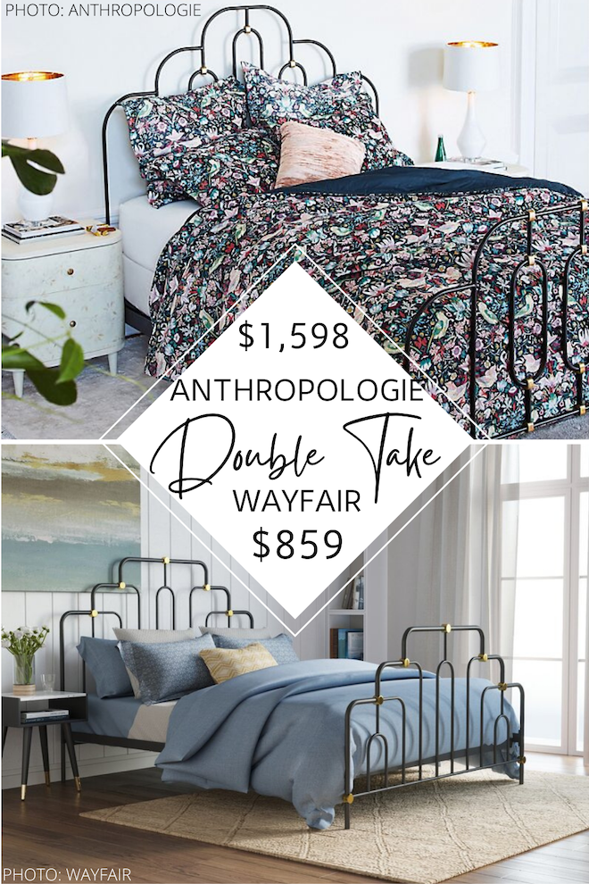 Decorating on a budget? Love Anthropologie furniture? You need to see this Anthropology Deco Bed copycat. This metal and gold bed is a little vintage and a LOT stylish. The best part? I have a dupe that looks like Anthropologie but costs WAY less. #bedding #design #style #inspo
