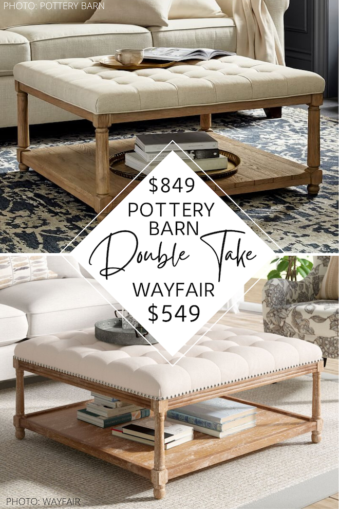 Always dreamed of having a Pottery Barn living room? This Pottery Barn coffee table ottoman dupe is a great look-alike for Pottery Barn! I love Pottery Barn copycats, and this one is gold. If you're decorating on a budget and love distressed, tufted, and linen decor, you've got to see this. #livingroom #goals #design #decor