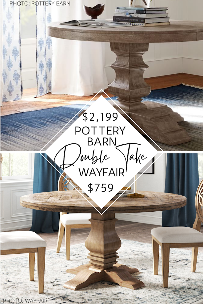 This Pottery Barn Banks round pedestal dining table dupe will give you the Pottery Barn dining room of your dreams! If you're looking for an affordable dining room table that also happens to be distressed, have a bit of farmhouse style, and is wood, I've found it for you! I actually have EIGHT pottery barn copycats for this dining table that will save you huge money. #inspo #design #decor #home