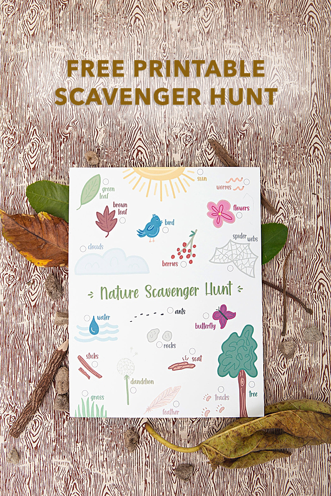 Adorable, free printable nature scavenger hunt game for walks!