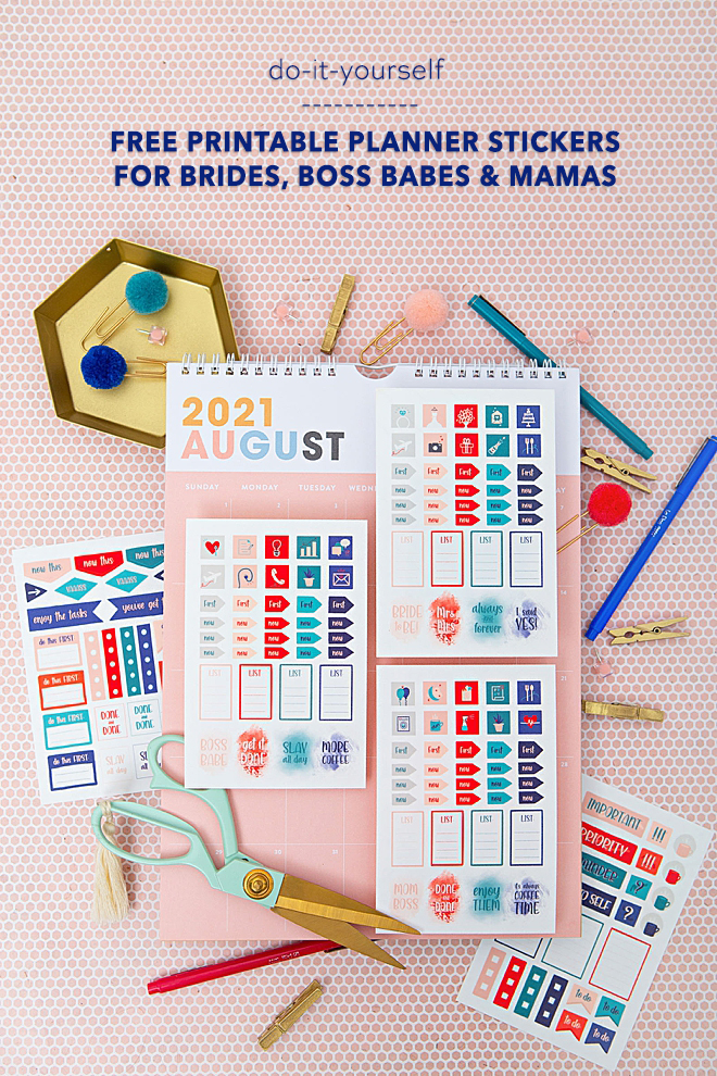 FREE printable planner stickers for brides, boss babes, and moms!