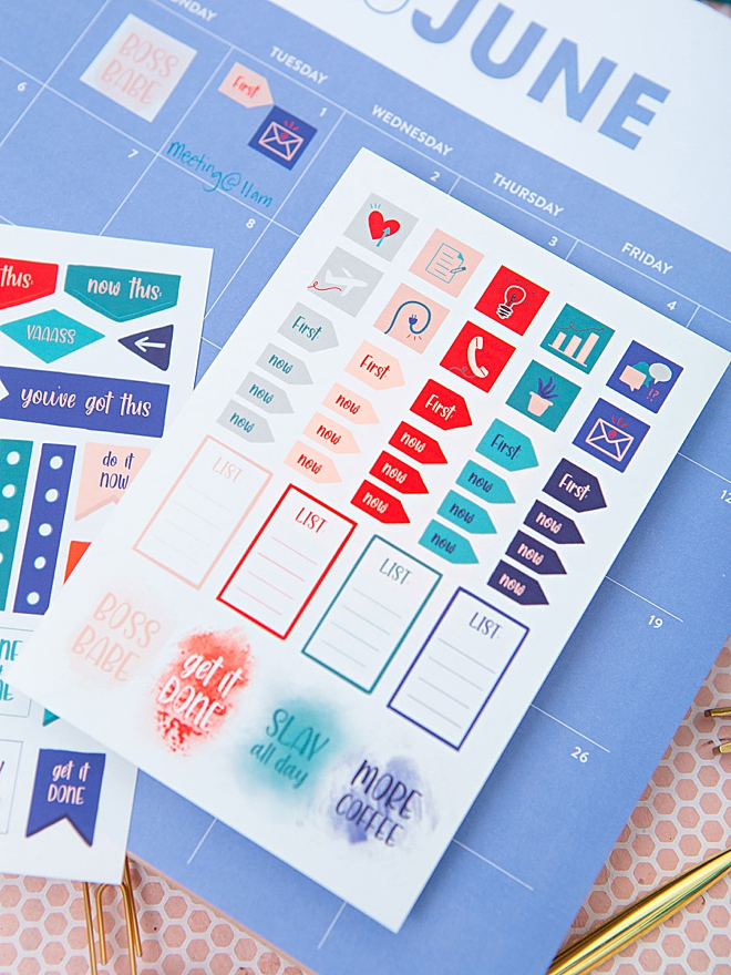 Print our exclusive Planner Stickers for FREE, five pages!