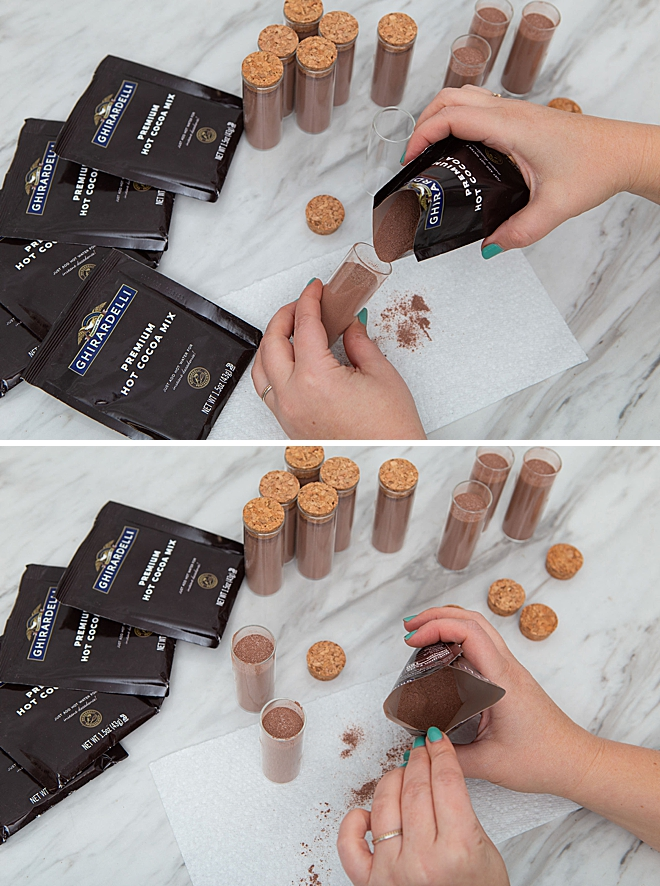 These are the most adorable hot chocolate favors ever!