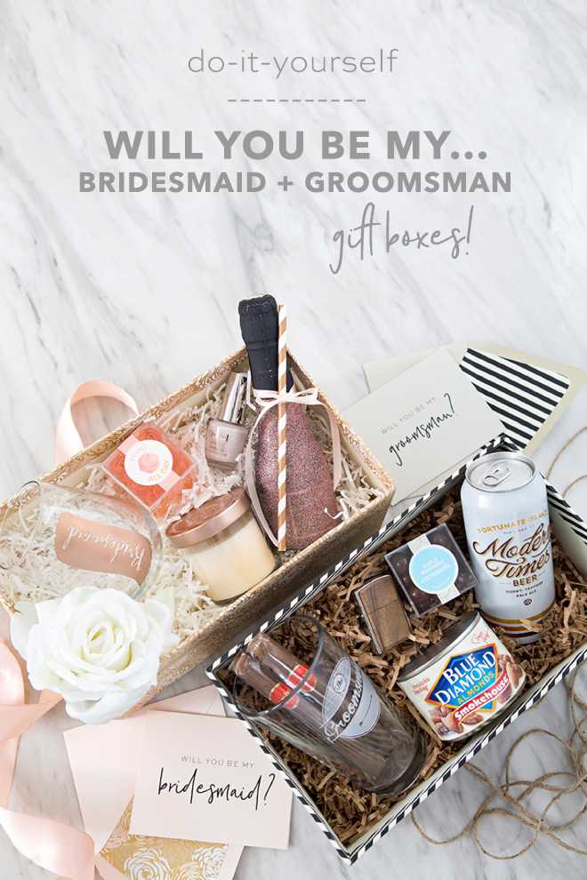 Our DIY will you be my bridesmaid or groomsman gift boxes are the CUTEST way to ask your bestie to stand by you on your big day!