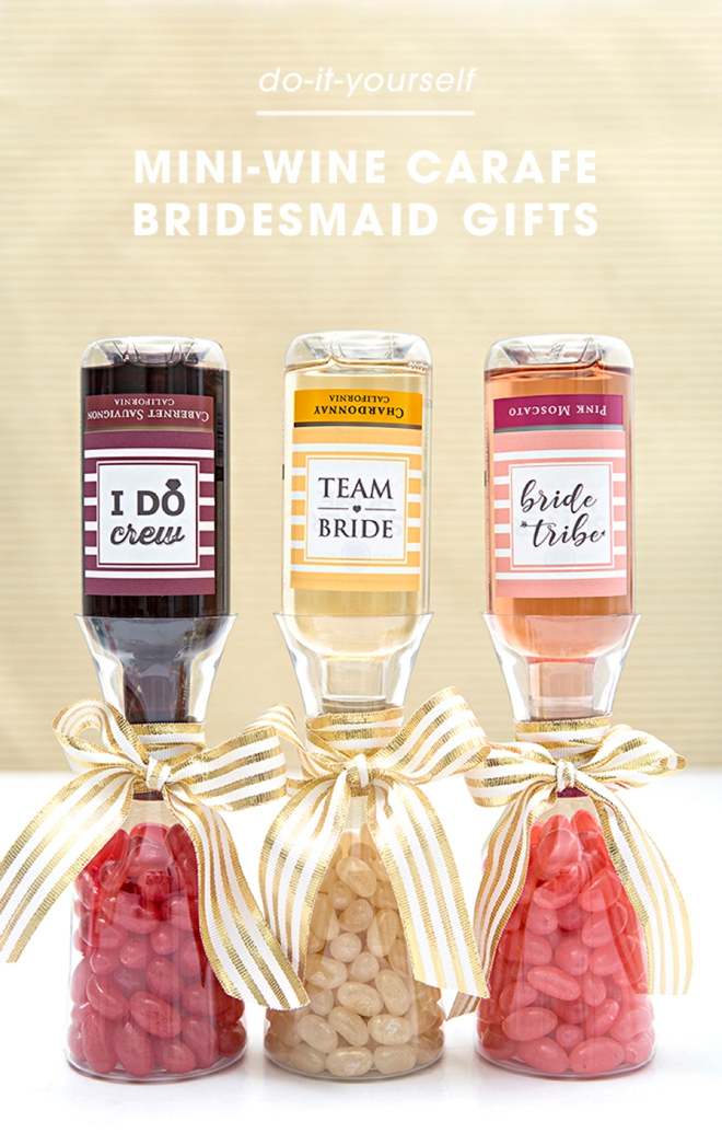 Did someone say wine? We LOVE our DIY mini-wine carafe bridesmaid gifts! Check it out and get crafting!