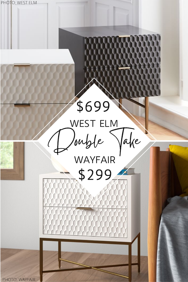Can we just talk about this West Elm Audrey Nightstand dupe?! This copycat will save you HALF the price (actually a bit more) and it's not even on sale! I love geometric, textured bedside tables and the lacquer finish really seals the deal for me. This is total bedroom inspo! #design #goals #lookalike #knockoff