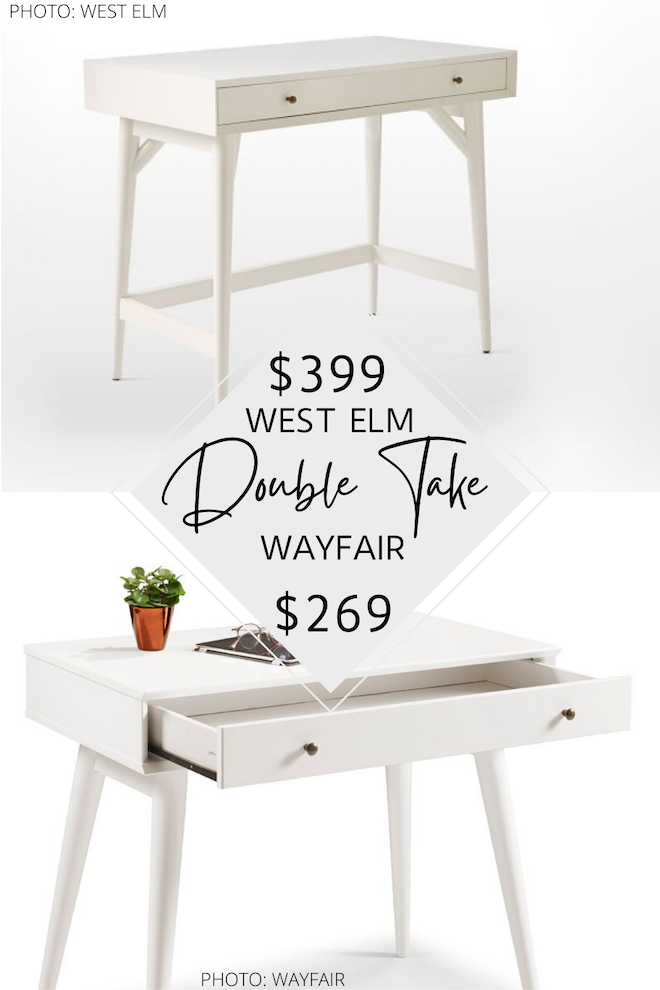 Have you seen my West Elm mini desk dupe? If you love furniture that looks like West Elm, you've got to see my West Elm copycats! Not only do I have a desk that looks like West Elm, I have bedside tables, dresser, rug, and bench dupes. #inspo #design #style #lookalike