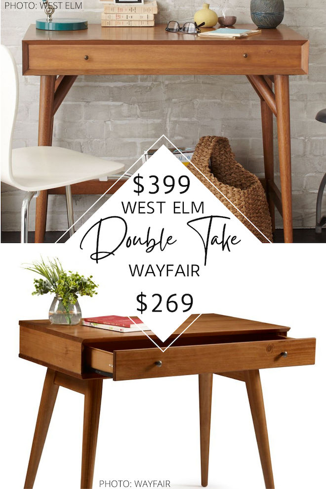 Love West Elm furniture? ME TOO. This MCM West Elm mini acorn desk is perfect for small spaces, an apartment, a closet office, or even in a living room. It's a great way to fit a desk into a small home. The best part? I've got a West Elm dupe for it that will save you hundreds of dollars. If you love home decor copycats, you need to see this. #inspo #design #house #lookforless