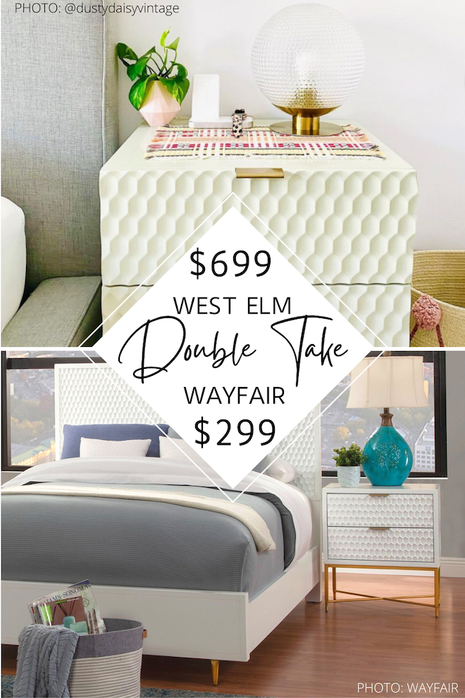 If you've always dreamed of having a West Elm bedroom or home, this West Elm dupe is for you! The Audrey enamel nightstand is now sold out, but my copycat isn't! If you are decorating on a budget or just like saving money, home decor dupes are for you. #inspo #design #lookforless