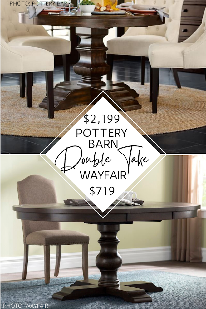 If you've always wanted a Pottery Barn dining room, this Pottery Barn dupe is for you! I found a Pottery Barn Banks dining table copycat that will blow your mind. It even is an extendable table - just like the PB version! I love the farmhouse style, round shape, and pedestal base. I could see this affordable dining table in a kitchen or dining room with family gathered around it.