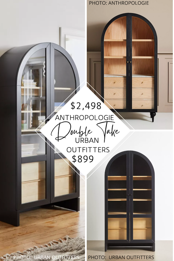 Looking for an Anthropologie Fern Storage Cabinet dupe? I got you! I've got a black (and also green and natural) arched storage cabinet that is less than half the price! Use it as a hutch, china cabinet, armoire, or just for storage. Home decor copycats and look-alikes are a great way to decorate on a budget and have SO MANY. #inspo #design #knockoff #lookforless