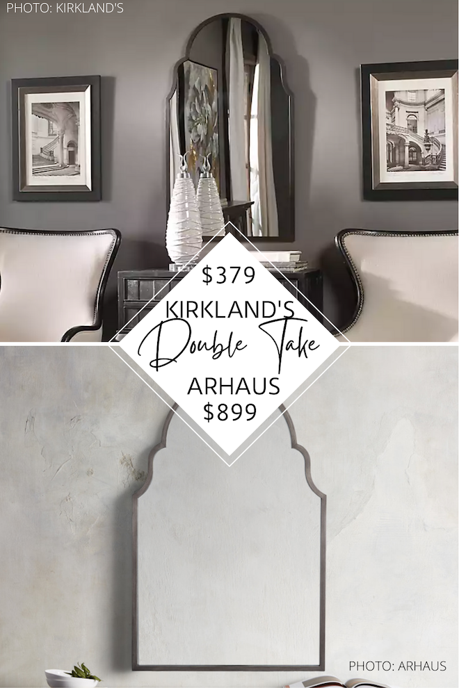 Do you love Arhaus decor? I've got an Arhaus Roselyn mirror dupe that will save you $700! If you love looks for less, affordable home decor, and arched mirrors, you've got to see this copycat. This wall mirror also comes in gold, silver, wood, and black and is a great way to decorate on a budget. #inspo #design #decor #mirrors