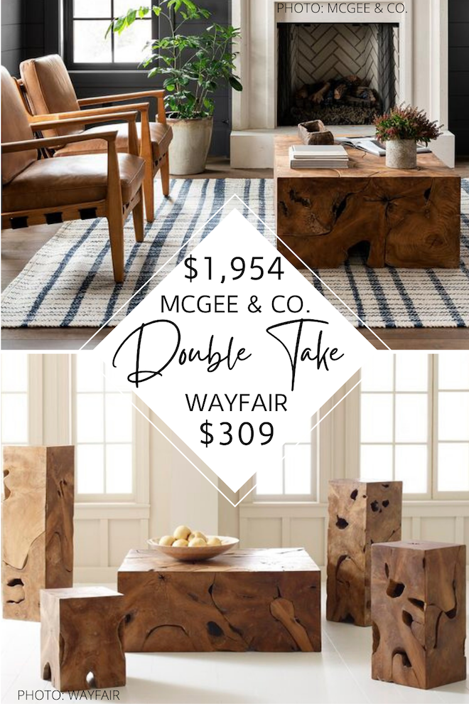 This McGee & Co dupe is WAY more affordable than the Tory Coffee Table. If you love Style McGee, you need to see this copycat. Home decor dupes and look-alikes are the way to go if you're decorating on a budget. I love this slab, teak coffee table - it would look so good in a modern traditional living room. #inspo #design #knockoff #style