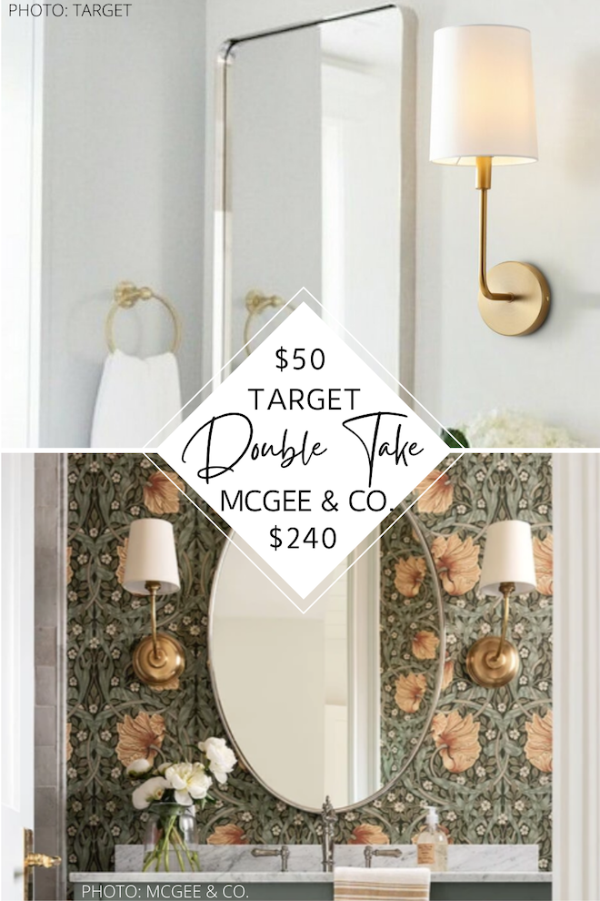 Always dreamed of having a modern traditional or transitional living room or hallway? My McGee and Co. Vendome wall sconce dupe will not only help you decorate on a budget, it's affordable home decor at its finest. If you're looking for affordable brass wall sconces with white shades, this is it! #lighting #design #decor #inspo
